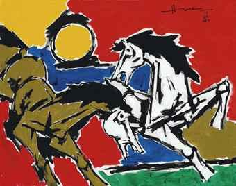 Maqbool Fida Husain-Untitled (Horses)-2007