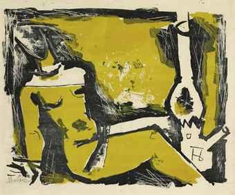Maqbool Fida Husain-Untitled (Lady and Lamp)-