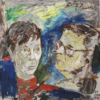Maqbool Fida Husain-Untitled (Portrait of Mr and Mrs Keehn)-1970