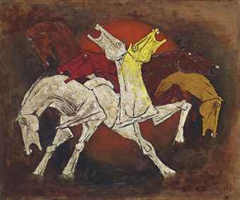 Maqbool Fida Husain-Untitled (Seven Horses)-1970