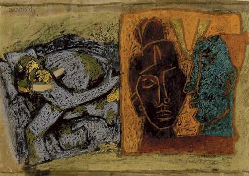 Maqbool Fida Husain-Untitled (Figural composition)-1968