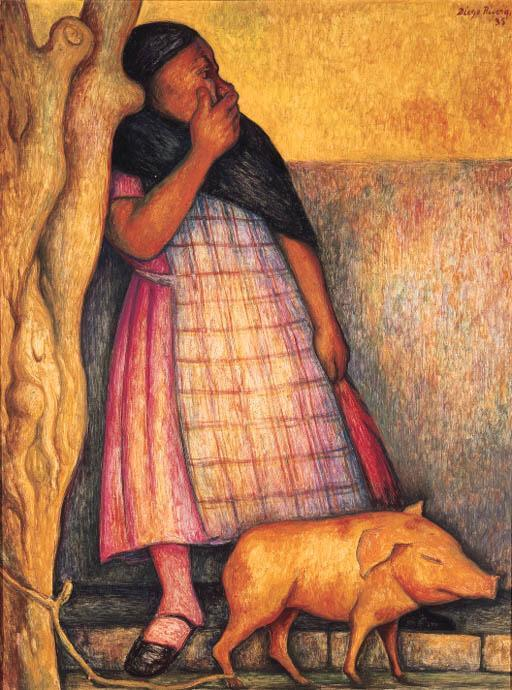 Diego Rivera-Vendedora de Puercos (Woman selling pigs)-1935