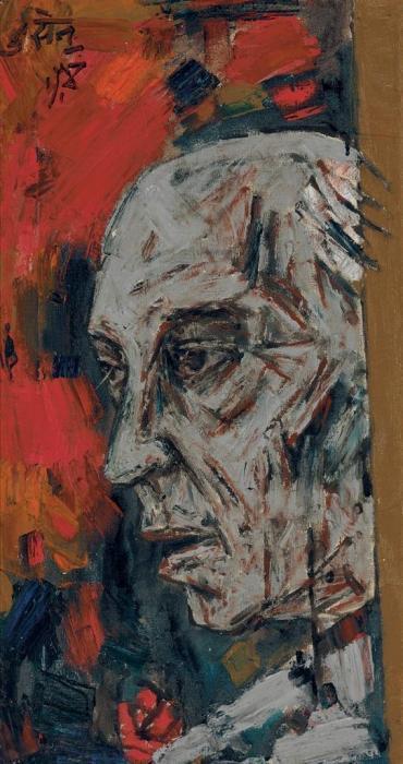 Maqbool Fida Husain-Untitled (Portrait of Jawaharlal Nehru, 1889-1964)-1965