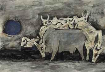 Maqbool Fida Husain-Untitled (Cows)-1950