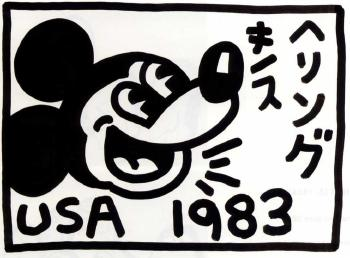 Keith Haring-KeithHaring - Untitled, Mickey Mouse-1983