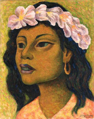Diego Rivera-Cabeza de mujer con tocado-1944