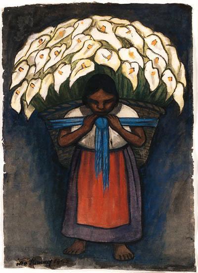 Diego Rivera-Mujer con alcatraces-1952
