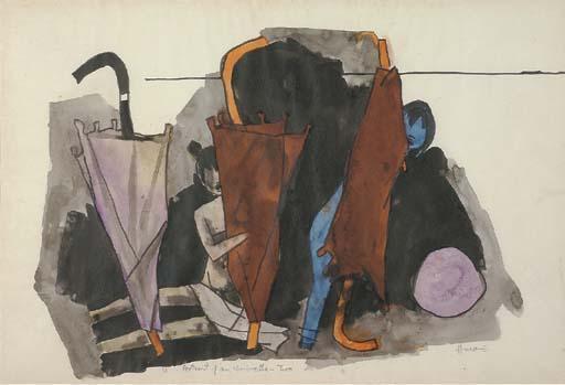 Maqbool Fida Husain-Portrait of an umbrella - Two-