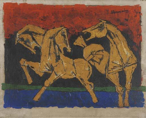 Maqbool Fida Husain-Horses-
