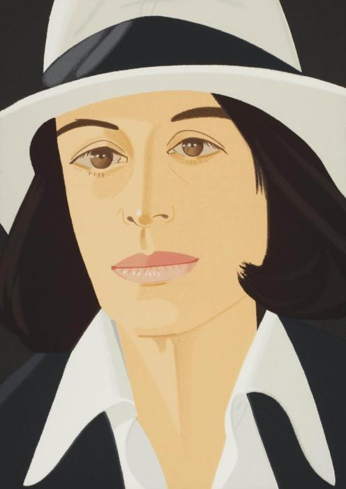 Alex Katz-White Hat; Grey Ribbon-1990