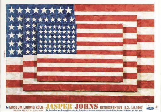 Jasper Johns-Three Posters (i) Untitled; (ii) Untitled, 1990; (iii) Three Flags-1997