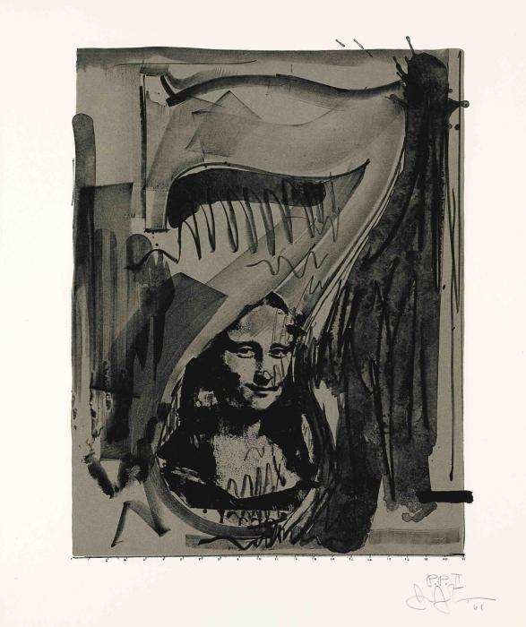 Jasper Johns-Figure 7, from Black Numeral Series (ULAE 51)-1968