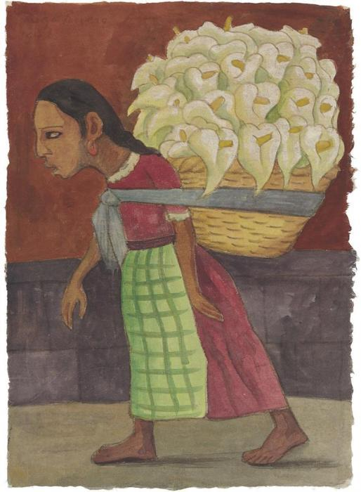 Diego Rivera-Flowers for the Market-1948