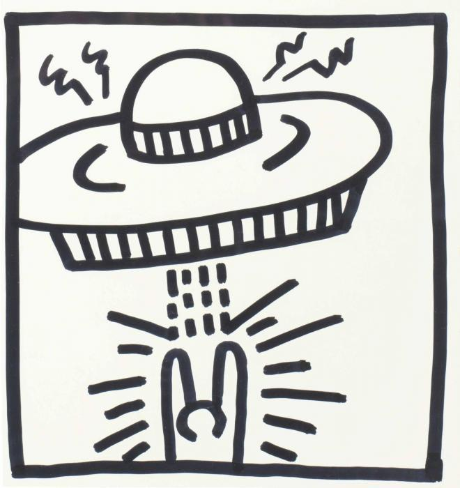Keith Haring-Keith Haring - Untitled (Man with UFO)-1982