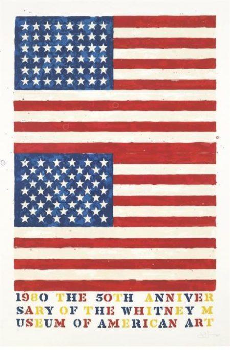 Jasper Johns-Two Flags - Whitney Anniversary (Ulae 207)-1980