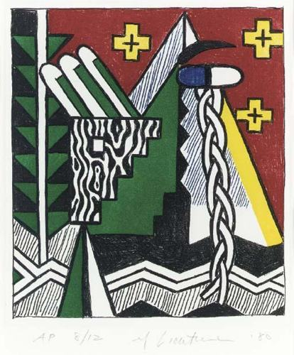 Roy Lichtenstein-Two Figures with Teepee, from American Indian Theme Series-1980