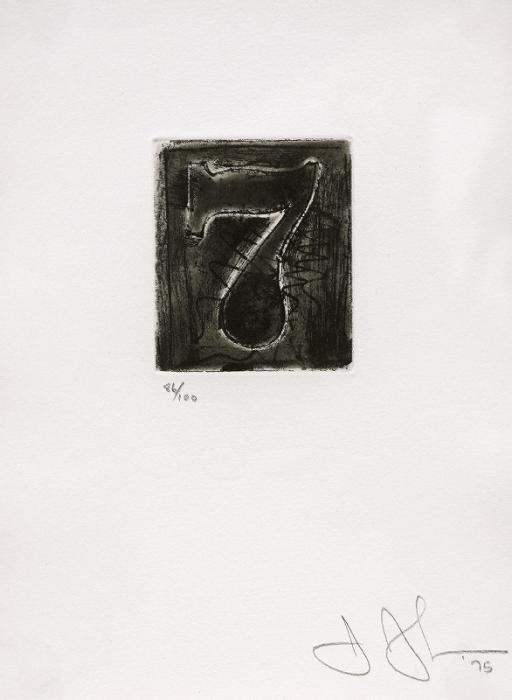 Jasper Johns-7 (ULAE 163), (A set of Ten Numerals: Figure 7)-1975