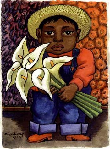 Diego Rivera-Nino con Alcatraces-1950