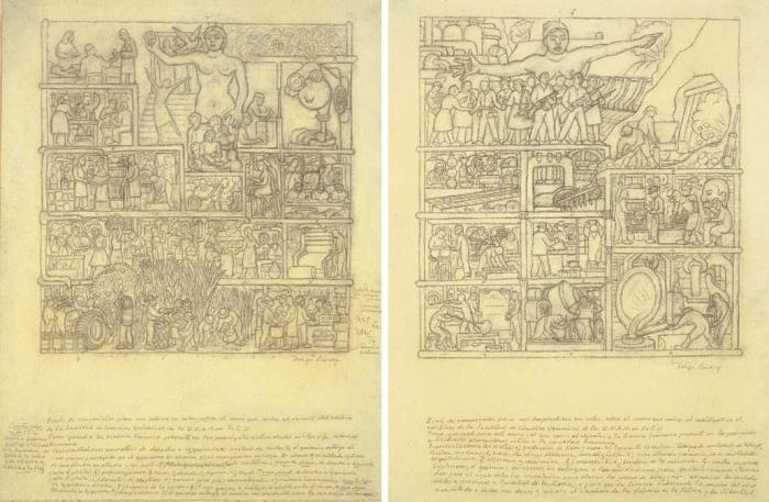 Diego Rivera-Composition sketches for La ciencia quimica-1933