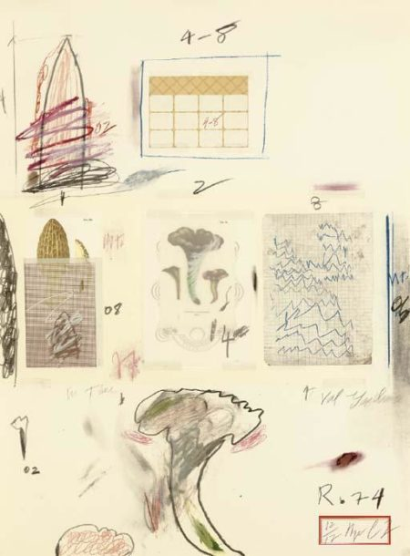 Cy Twombly-Natural History Part I Mushrooms: Plate VI-1974