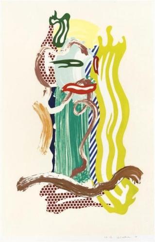 Roy Lichtenstein-Portrait, from Brushstroke Figures-1989