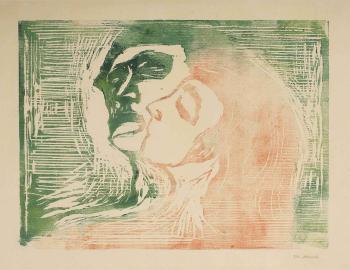 Edvard Munch-Hode ved hode / Head by head / Kopf bei Kopf / Mann und Weib sich kussend-1905