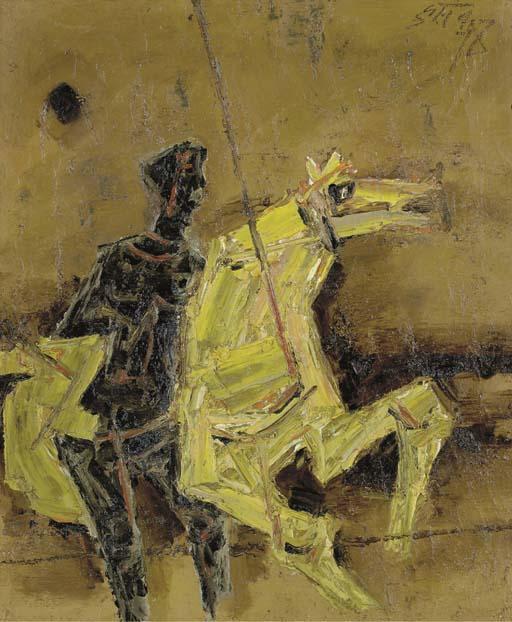 Maqbool Fida Husain-Figure with Horse-