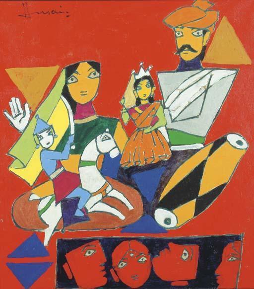 Maqbool Fida Husain-Puppeteers-
