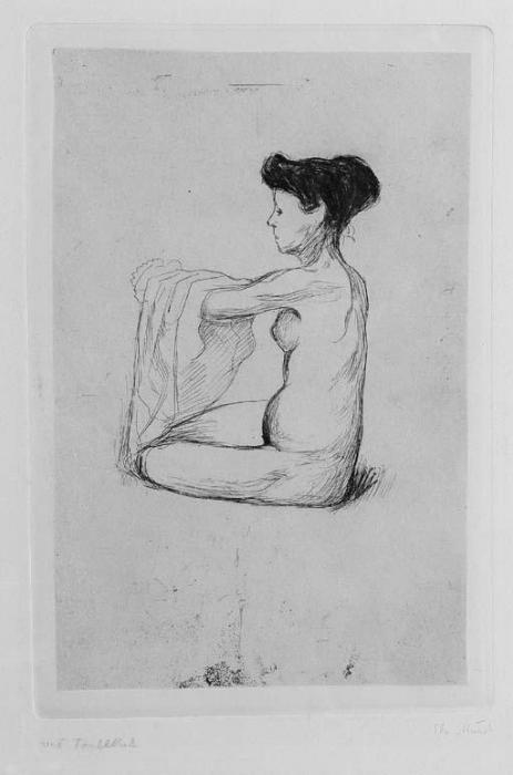 Edvard Munch-Kvinne som tar Linnetet pa / Woman Putting on her Nightgown / Aktfigur (Woll no. 52 II B)-1896