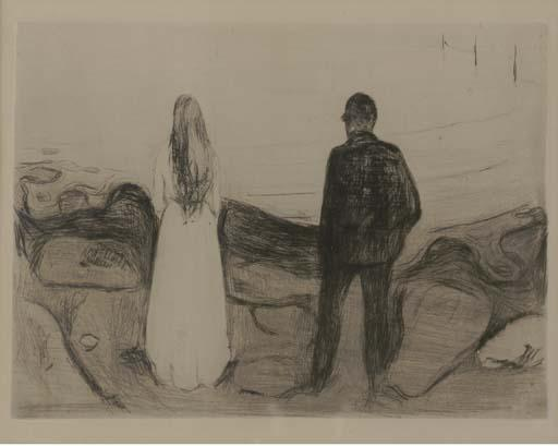 Edvard Munch-The Two Human Beings / The Lonely Ones / Zwei Menschen, Die Einsamen / De ensomme / The Lonely Couple / To mennesker (Sch. 20; W. 13)-1894