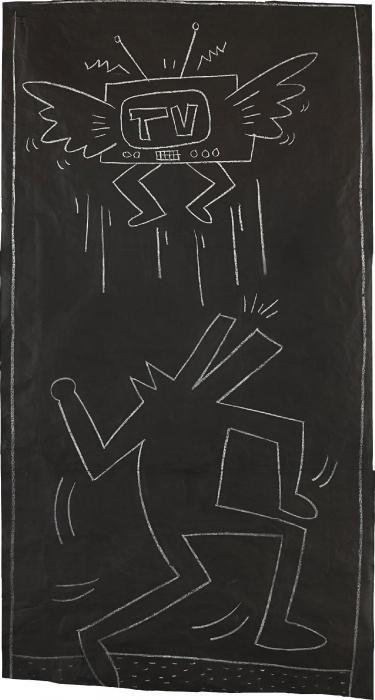 Keith Haring-Keith Haring - Untitled (Dog-man, flying T.V)-1982