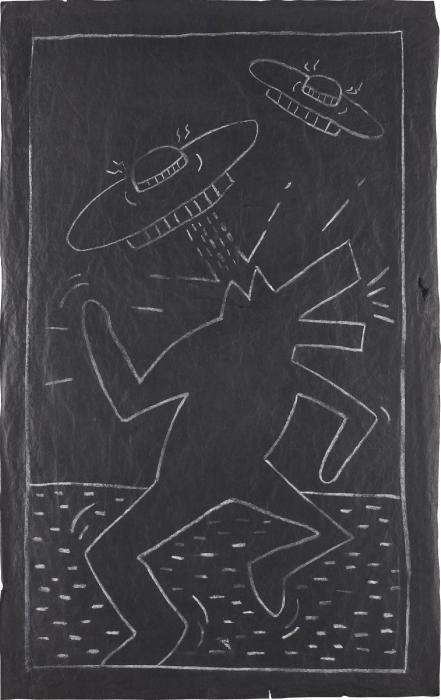 Keith Haring-Keith Haring - Barking Dog and Spaceships-1982