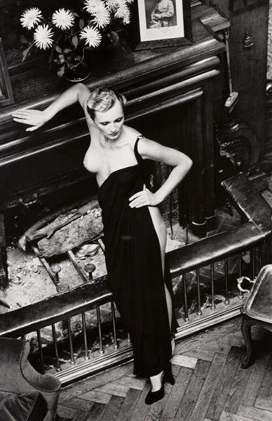 Helmut Newton-Rosalyne by Fireplace, Arcangues, France-1975