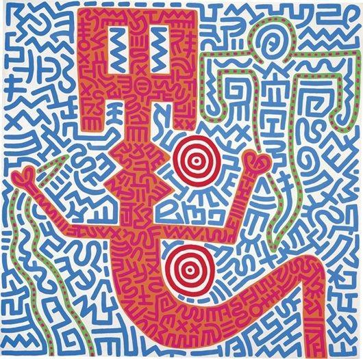 Keith Haring-Keith Haring - Aztec Snake Goddess-1984