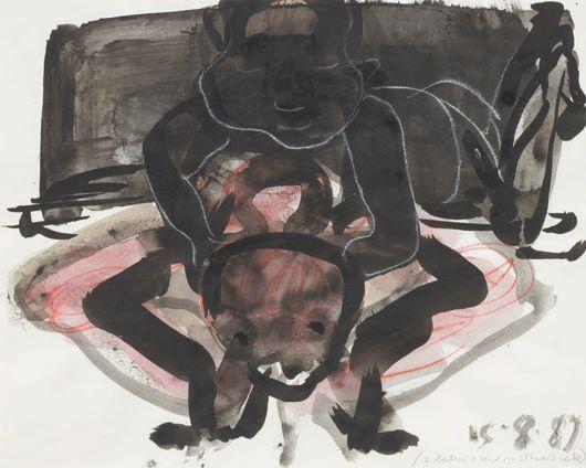 Marlene Dumas-2 Babies Zittend Op Elkaar's Nek-1989