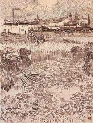 Vincent van Gogh-Arles, vue des champs de ble-1888