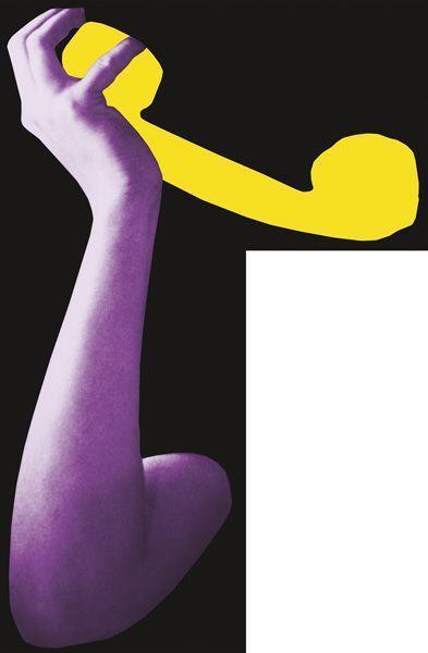 John Baldessari-Arms & Leg (Specif Elbows & Knees), etc (Part Two): Arm with Telephone (Yellow)-2008