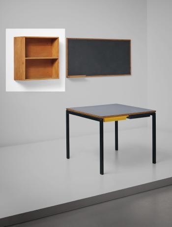 Le Corbusier-Bookshelf and blackboard, designed for la chambres d'etudiant del la Maison du Bresil, Cite Internationale Universitaire de Paris-1959
