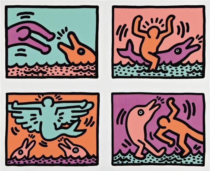 Keith Haring-Keith Haring - Pop Shop Quad V-1989