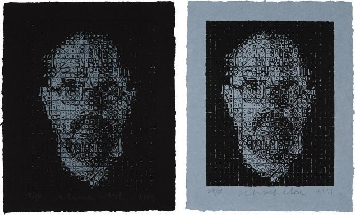 Chuck Close-Self-Portrait I; Self-Portrait II-1999