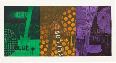 Jasper Johns-Untitled, (Secondaries over black) (Universal Limited Art Editions 255)-1991