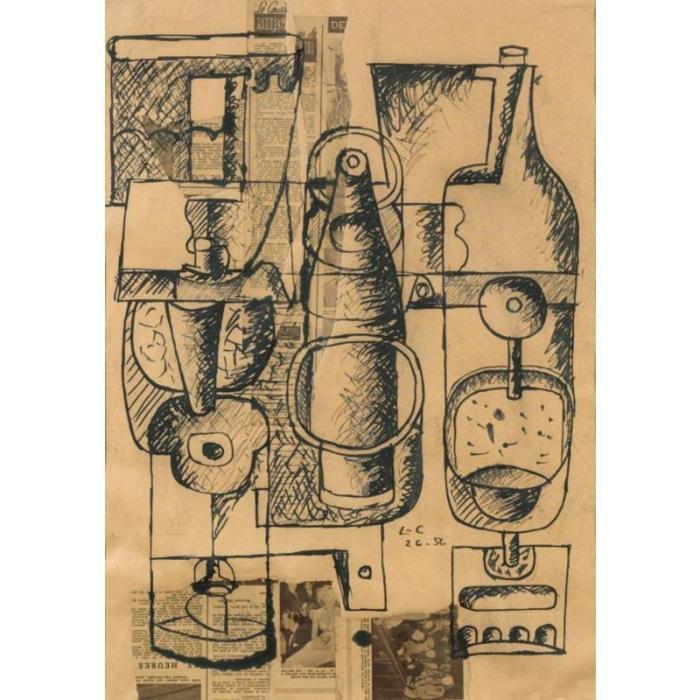 Le Corbusier-Nature morte avec bouteilles et verres-1956