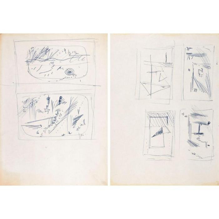 Lucio Fontana-Due studi per formelle in terracotta-1956