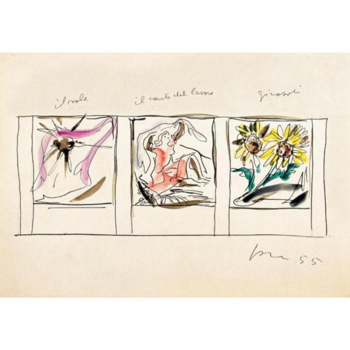 Lucio Fontana-Studi per pannelli in ceramica il sole/il canto del lavoro/G-1955
