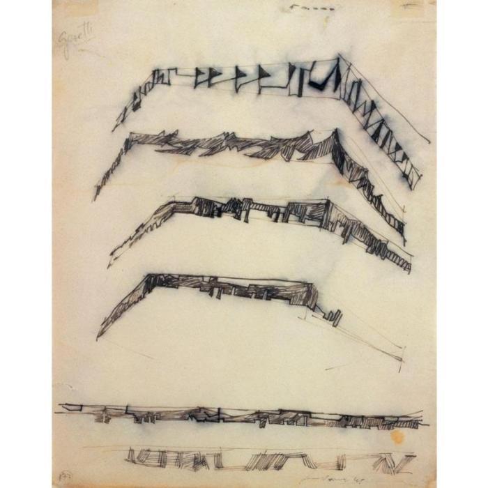 Lucio Fontana-Studi per decorazione spaziale-1949