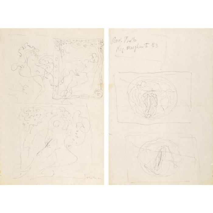 Lucio Fontana-Tre nudi femminili/Studi di Olii-