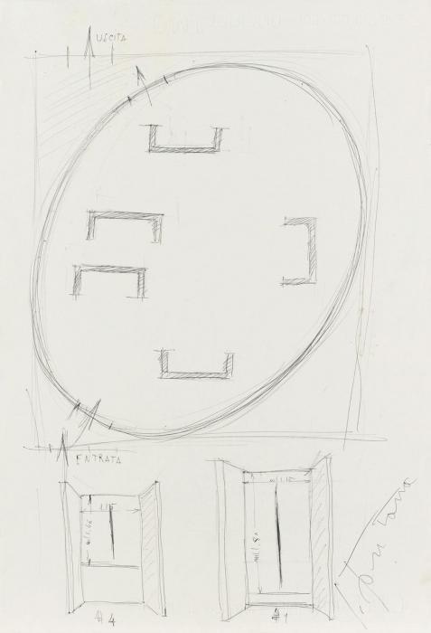 Lucio Fontana-Studio per la sala alla XXXIII Biennale di Venezia-1966