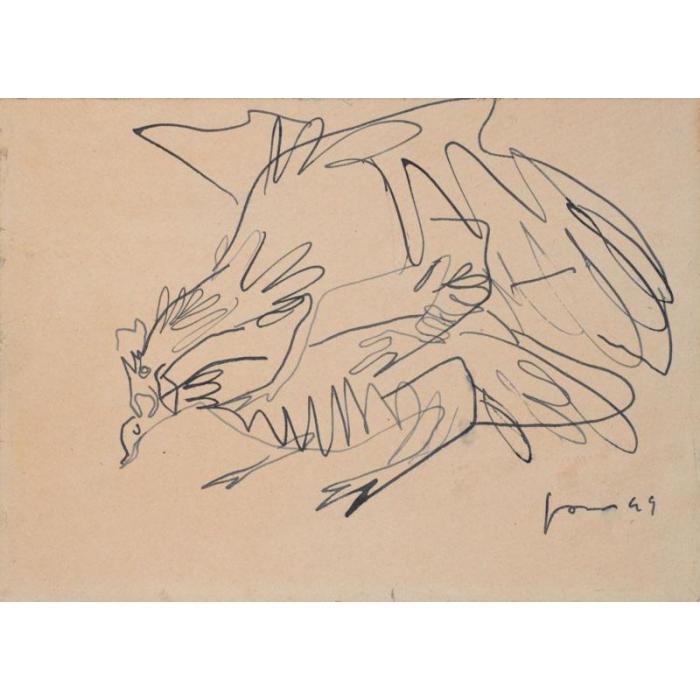 Lucio Fontana-Gallo cedrone-1949
