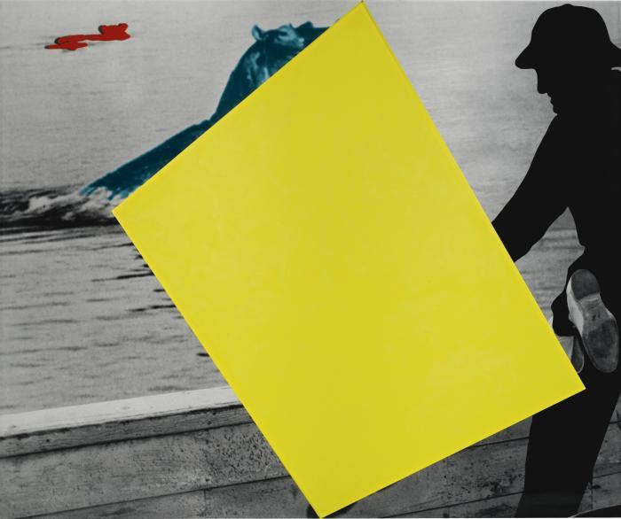 John Baldessari-Blockage (Yellow): with Person (Black) and Hippopotami (Blue and Red)-2004