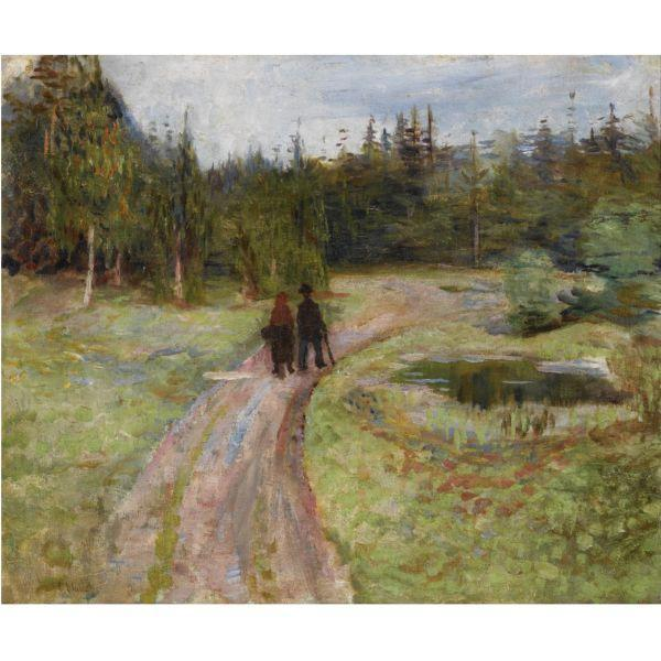 Edvard Munch-To Pa Vei Mot Skogen / Couple on the Path to the Forest-